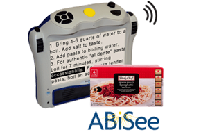 Eye-Pal Ace portable video magnifier showing packaged food instructions on screen.