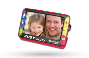 RUBY XL HD handheld video magnifier, showing a magnified photo of a man and his daughter, is the best portable low vision aid.