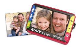 RUBY XL HD handheld video magnifier showing family photo.