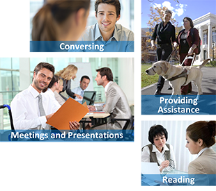 Images of interacting with people with disabilities, with captions for conversing, providing assistance, meetings and presentations, and reading.