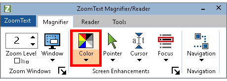 Color button shown in the Screen Enhancements group on the Magnification tab
