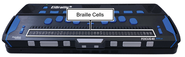 Image showing the location of braille cells on an ElBraille 40 5th Generation.
