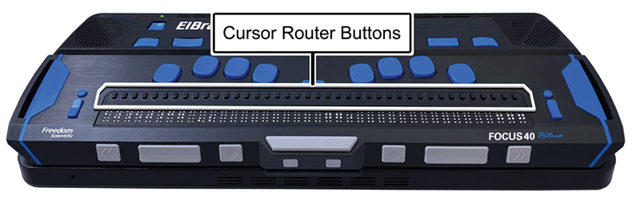 Image showing the location of cursor router buttons on an ElBraille 40 5th Generation.