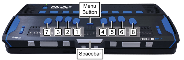 Image showing location of Perkins-style keyboard, Spacebar, and Menu button on ElBraille 40 V.