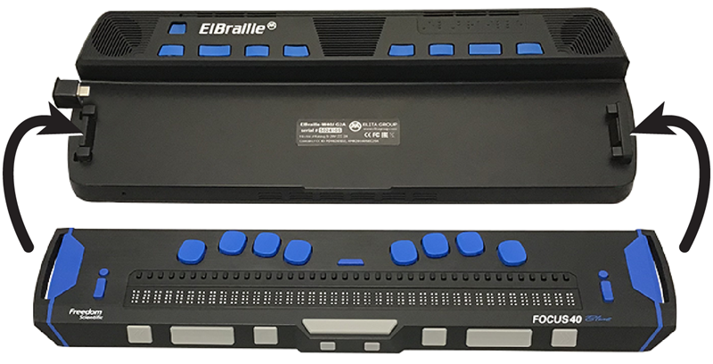Image showing how to place a Focus 40 Blue braille display into an ElBraille.
