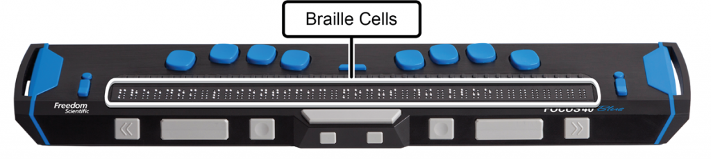 Image showing the location of braille cells on a Focus 40 Blue braille display.