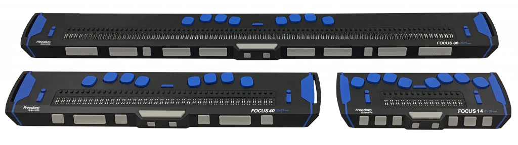 Image showing the Focus 40 Blue, Focus 14 Blue, and Focus 80 Blue braille displays.