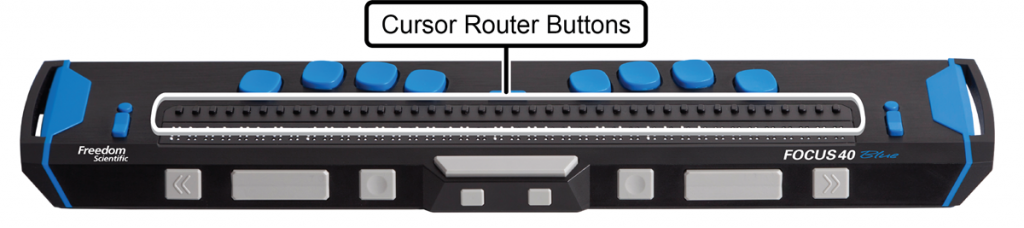 Image showing the location of cursor router buttons on a Focus 40 Blue braille display.