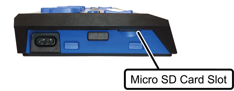 Image showing the location of the micro SD card slot on the left side of the Focus Blue braille display.