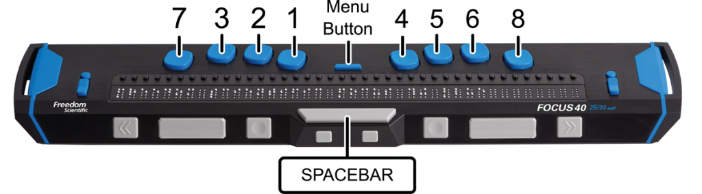 Image showing the location of the Perkins-style braille keyboard, Menu button, and Spacebar on a Focus 40 Blue braille display.