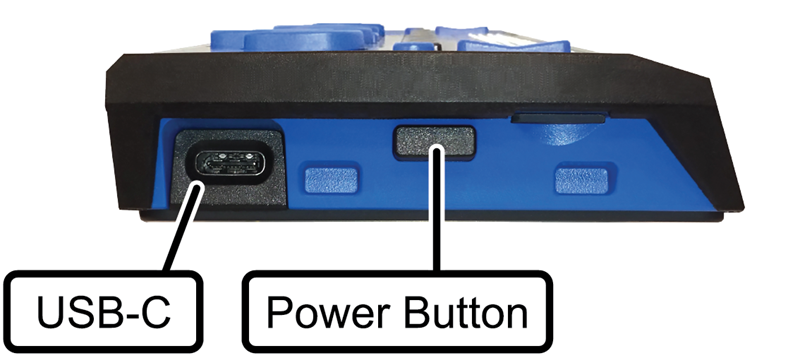 Image showing the location of the Power button and USB-C port on the left side of the Focus Blue braille display.