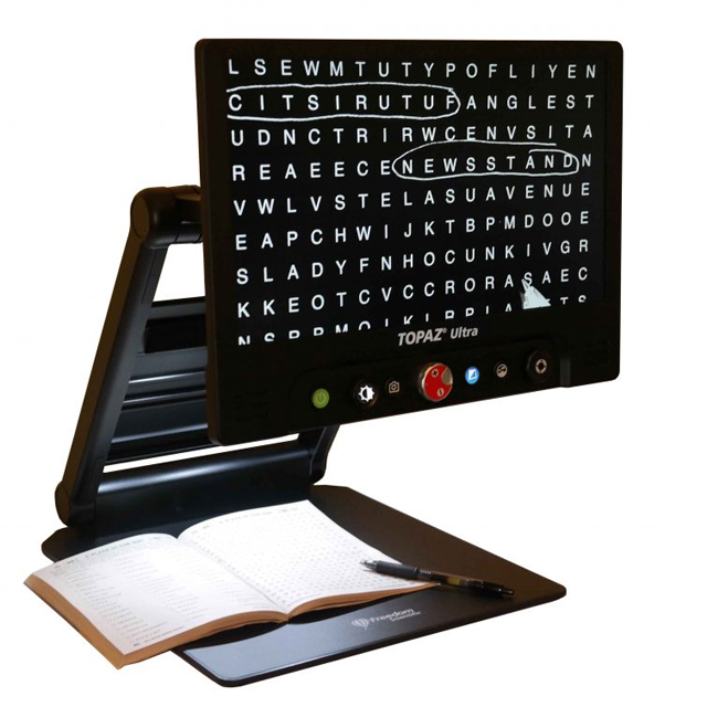 Topaz ultra with crossword puzzle on screen