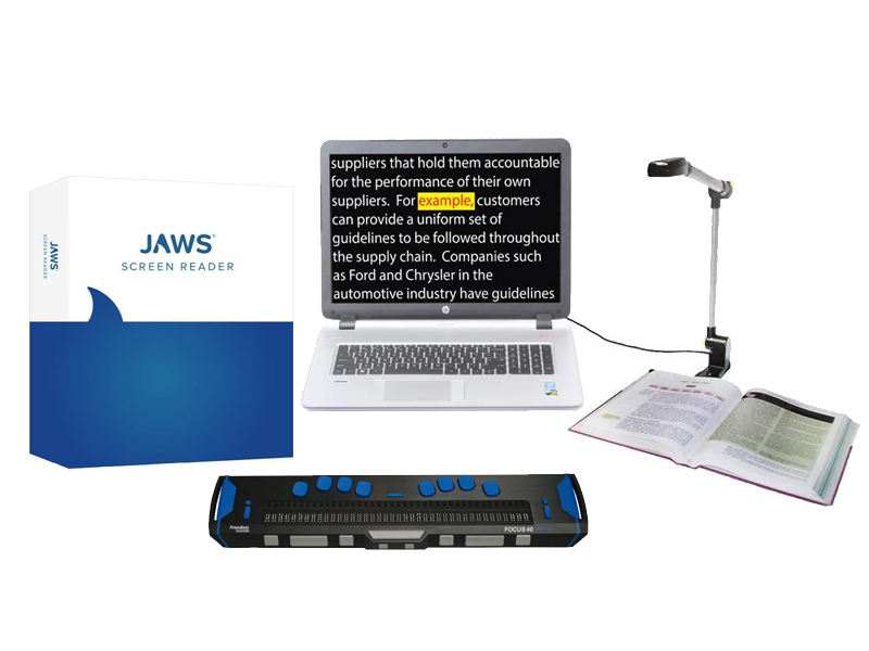 JAWS software, Focus 40 Braille display, Pearl